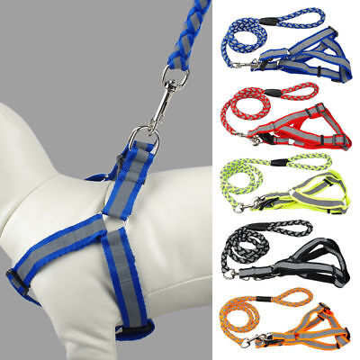 Nylon Reflective Dog Leash  Harness Lead Collar and Safety for puppys S M L