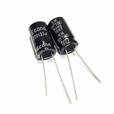 20pcs 200v 33uf 33mfd 105c Aluminum Electrolytic Capacitor 1016mm