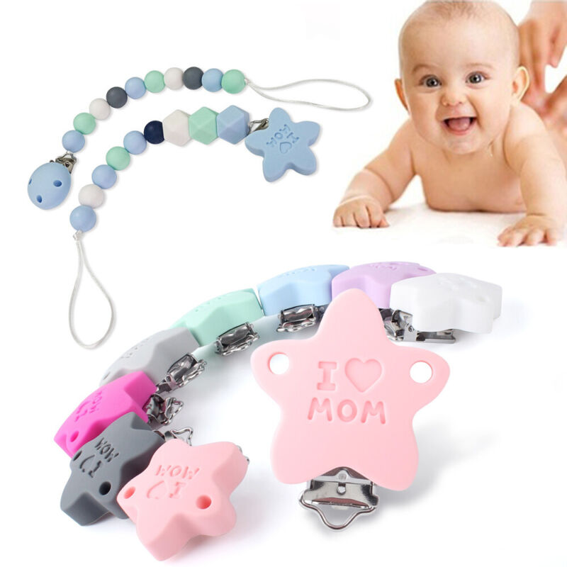 Silicone Pacifier Clip Star Shape Silicone Teething Necklace