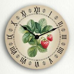 Strawberries Watercolor Style Art Country Kitchen Motif 12 Silent Wall Clock