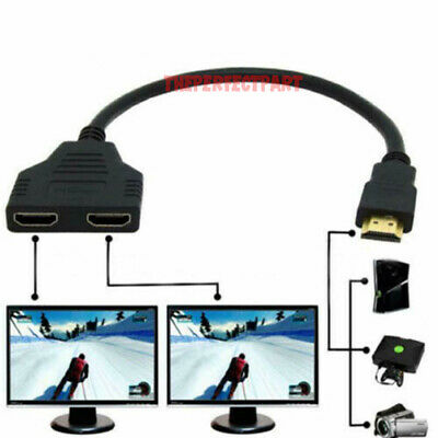 HDMI Port Male to Female 1 Input 2 Output Splitter Cable Adapter Converter 1080P for sale  Shipping to India