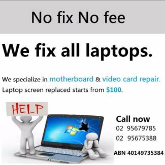 laptop motherboard repaired video card repaired screen replaced
