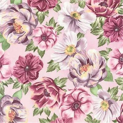 Pink Mauve Burgundy Green Floral Shabby Rose Quilt Fabric Garden AWU-17656-238