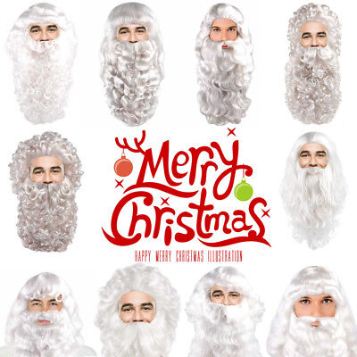 Santa Claus Wig And Beard Set (Styles Adult Men Merry Christmas Xmas Party Deluxe Santa Claus Wig And Beard)