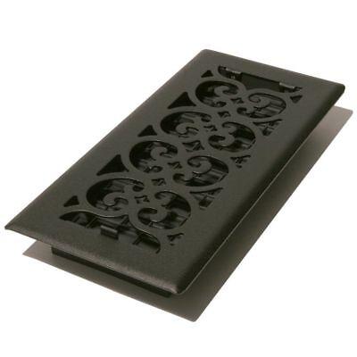 Decor-Grates-Steel-Floor-Register-Air-Vent-Scroll-Textured-Black 4 x 10 x12 (Decor Grates)