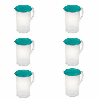 Sterilite 1-Gallon Round Plastic Pitcher and Spout, Clear w/ Blue Lid  (6 Pack)](Plastic Pitcher)
