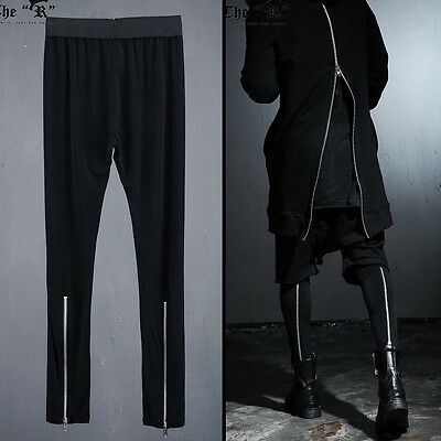 ByTheR Unique Urban Casual Black Back Silver Zipper Detail Mens Leggings UK