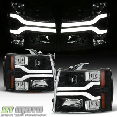 Black 2007-2013 Chevy Silverado 1500 LED DRL Tube Projector Headlights Headlamps
