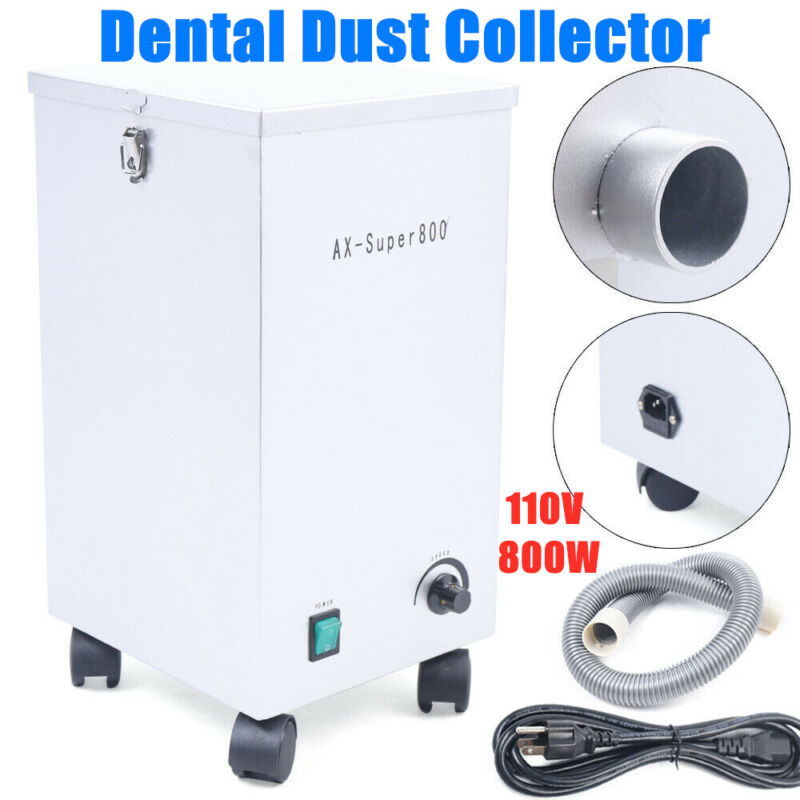 Dental Lab Mobile Dust Collector Dust Removal Vacuum Cleaner Extractor 110V 800W
