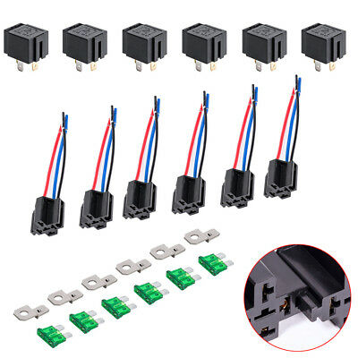 6 Pack  30A Fuse Relay Switch Harness Set 12V 4-Pin 14 AWG US Fast Shipping - Fast Pack Harness