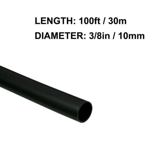 3/8in (10mm) Diameter Heat Shrink Tubing Shrinkable Tube 100ft Black