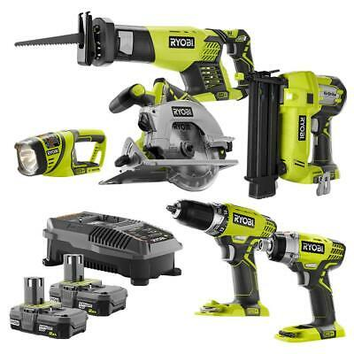 RYOBI 6-Tool Combo Kit with  2.0 Ah Batteries and 18-Volt Ch