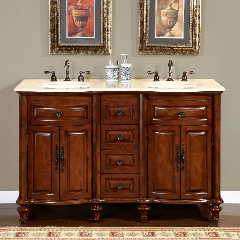 55 inch creamy marble top double sink bathroom vanity lavatory cabinet 0719cm ebay. Black Bedroom Furniture Sets. Home Design Ideas