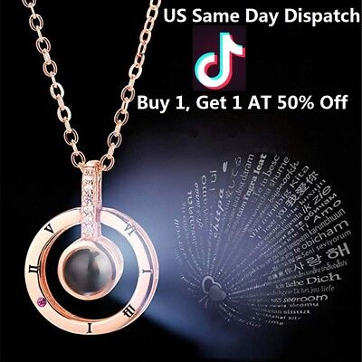 I Love You-100 Languages Light Projection Pendant Necklace Women Jewelry Tik - Light Necklace