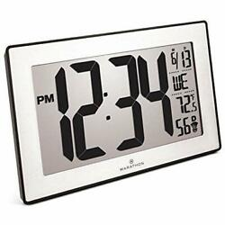 Marathon CL030068BK-SS Wall Clocks Slim Panoramic Atomic With Table Stand Color-