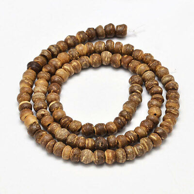 "Coconut Beads Strand 15"" Natural Coconut Abacus Shaped Inspired Designs - BD351"