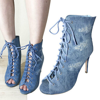 Denim Ankle Boot (Women Hot New Ankle High Blue Denim Open Toe Stiletto Heel Boot Booties Shoes)