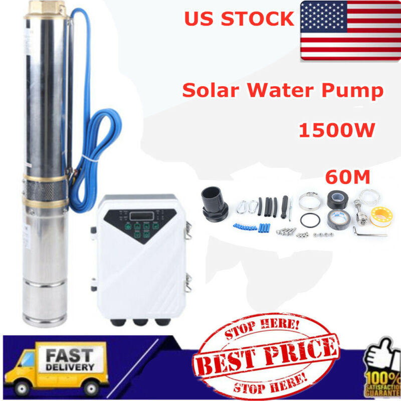 DC110V Solar Deep Well Water Pump Submersible Irrigation Farm 1.5KW 60m 13000L/H