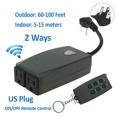 In Outdoor Wireless Remote Control Dual Power Outlet Light Switch Socket ON/OFF