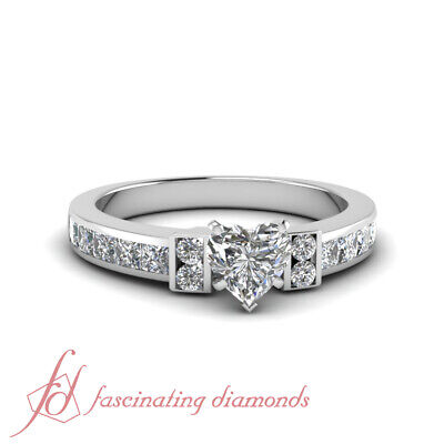 2.50 Ct Heart Shaped Diamond With Round And Princess Cut Engagement Ring GIA