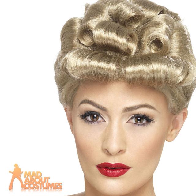 40s Blonde Vintage Wig WW2 Retro Pin Up Short Curls Fancy Dress