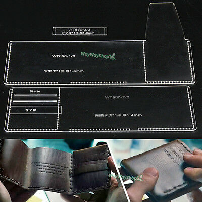 Men Trifold Wallet Acrylic 850 Templates Leather Craft Patterns DIY models Hobby ()