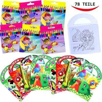 German Trendseller® - Kinder Mal - SET - 78 Teilig | 6 Malbücher & 72 Buntstifte
