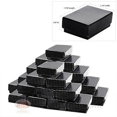25 Black Pinstripe Cotton Filled Gift Boxes 1 78 X 1 14 Ring Charm Jewelry