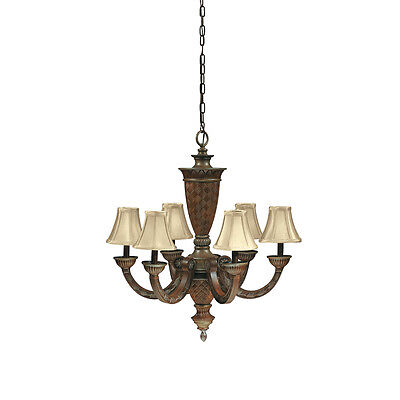 ANTQUE SILVER LEAF 6 LIGHT CHANDELIER WITH SHADES