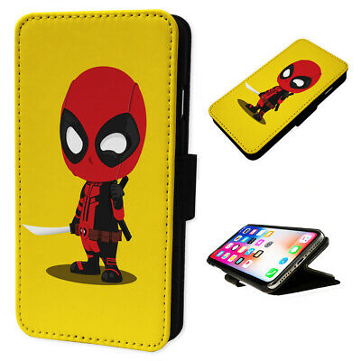 Deadpool Cartoon - Flip Phone Case Wallet Cover Fits Iphone & Samsung 8 XR S10