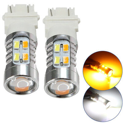 2x 3157 Dual Color AmberWhite 6000K 5630 LED Projector Turn Signal Lights bulbs