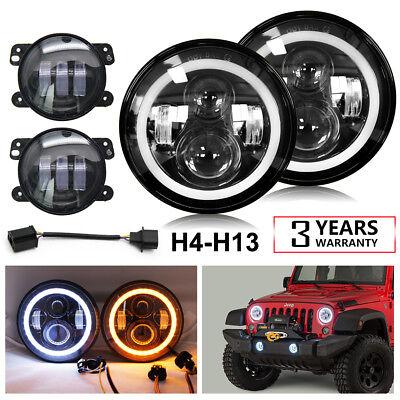7'' LED Halo Headlights + 4'' Fog Light Kit For 2007-2017 Jeep Wrangler Patriot