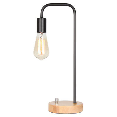 - HAITRAL Desk Lamp Wooden Industrial Table Lamp for Office, Bedroom, Living room