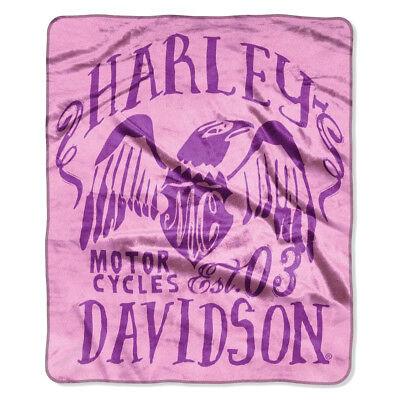 Harley-Davidson® Winged Eagle Pink & Purple Fleece Throw Blanket (50x60) 997189 for sale  Milwaukee