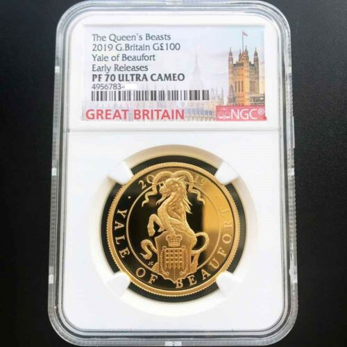 UK 2019 Queen's Beast Great Britain The Yale 1oz Gold Proof Coin NGC PF70 UC ER