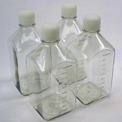 Lot Of 4 New Nalgene 1000ml 32oz Clear Square Storage Bottles With Screw Caps