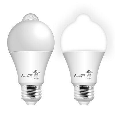 2 Pack Motion Sensor Light Bulb, UL Listed 10W (80W Equivalent) 5000K Daylight