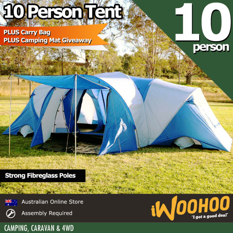 Camping Australia Store: 10 Person Tent Camping Mat Man X Large Family Blue Tent