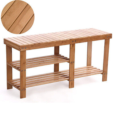 Shoe Rack Bench Hallway Storage Organizer Entryway Furniture Bamboo Stool Seat