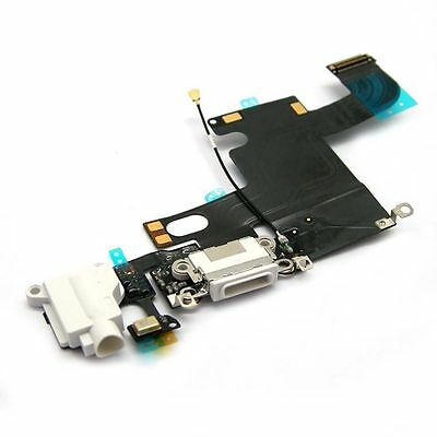 White Charging Port with Flex Cable, Earphone Jack and Mic for iPhone 6(4.7 i...
