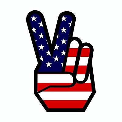 Peace US American Flag Vinyl Car Decal Sticker