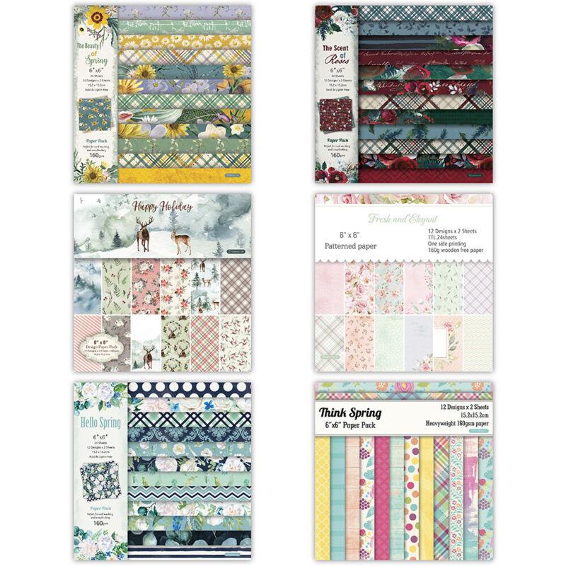 12PC Flower Paper Pad Scrapbooking Happy Planner Card Making Journal Album DIY