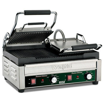 Waring Wpg300 Ottimo Rib Top Bottom Commercial Panini Sandwich Grill 240v 17x9