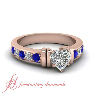 Diamond Rings For Women With Heart Shaped And Sapphire 14K Rose Gold 1.30 Ct GIA