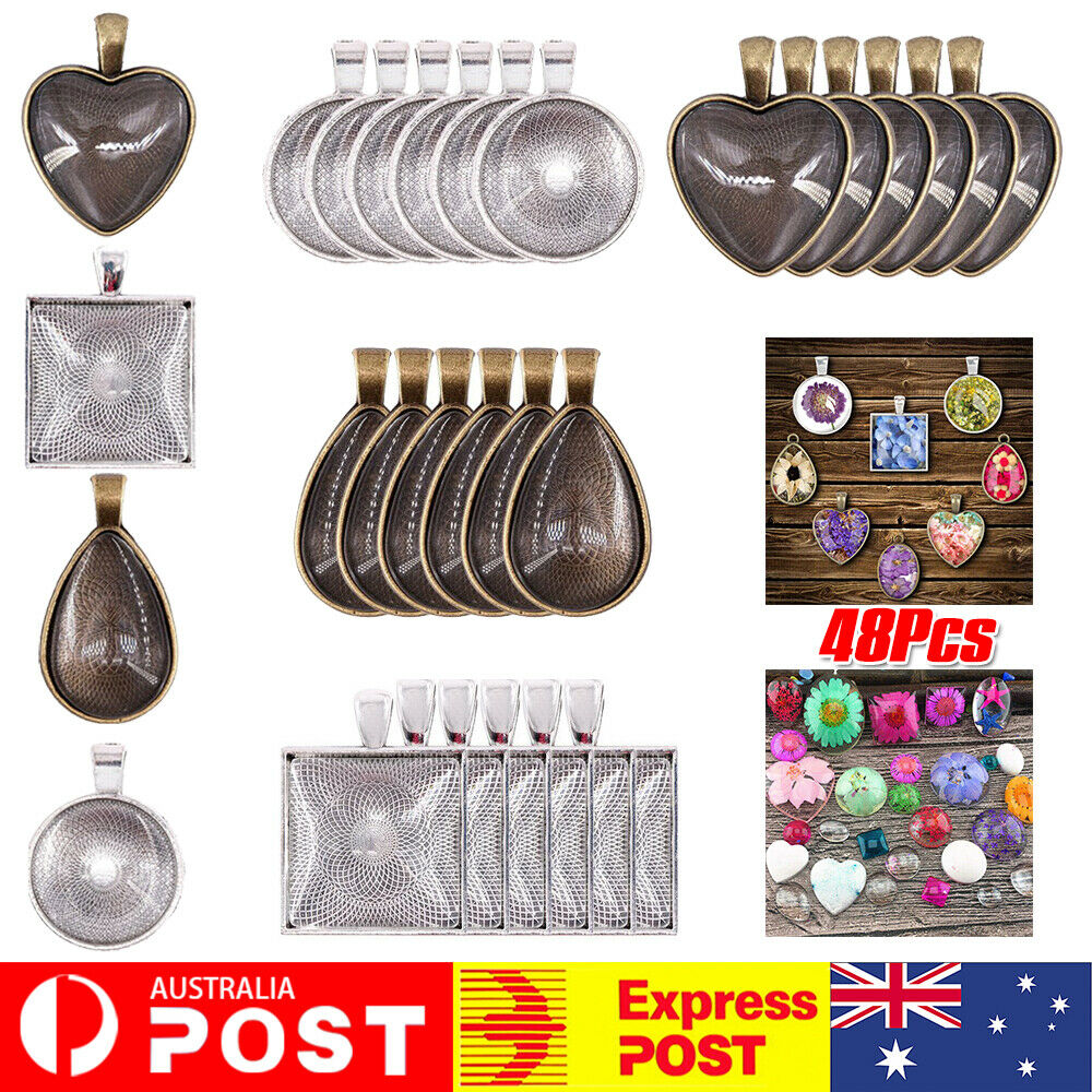 Jewellery - 24 Sets DIY Cabochon Bezel Frame Pendant Settings Jewelry Necklace + Blanks Tray