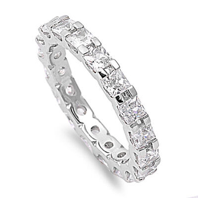- Princess White CZ Eternity Wedding Band Ring .925 Sterling Silver Sizes 5-10 NEW