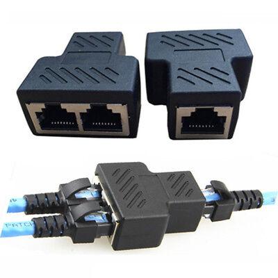 RJ45 Splitter Adapter 1 to2 Dual Female Port CAT5 6 LAN Ethernet Connector Stock