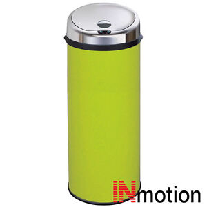 green kitchen bin inmotion 50l lime green stainless steel auto sensor 1386