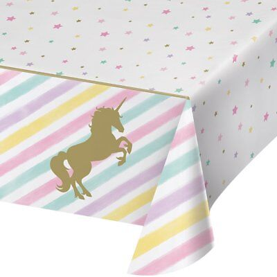 Metallic Gold/Pink Unicorn Plastic Tablecloth for Birthday Party-Supplies (Pink Plastic Tablecloth)