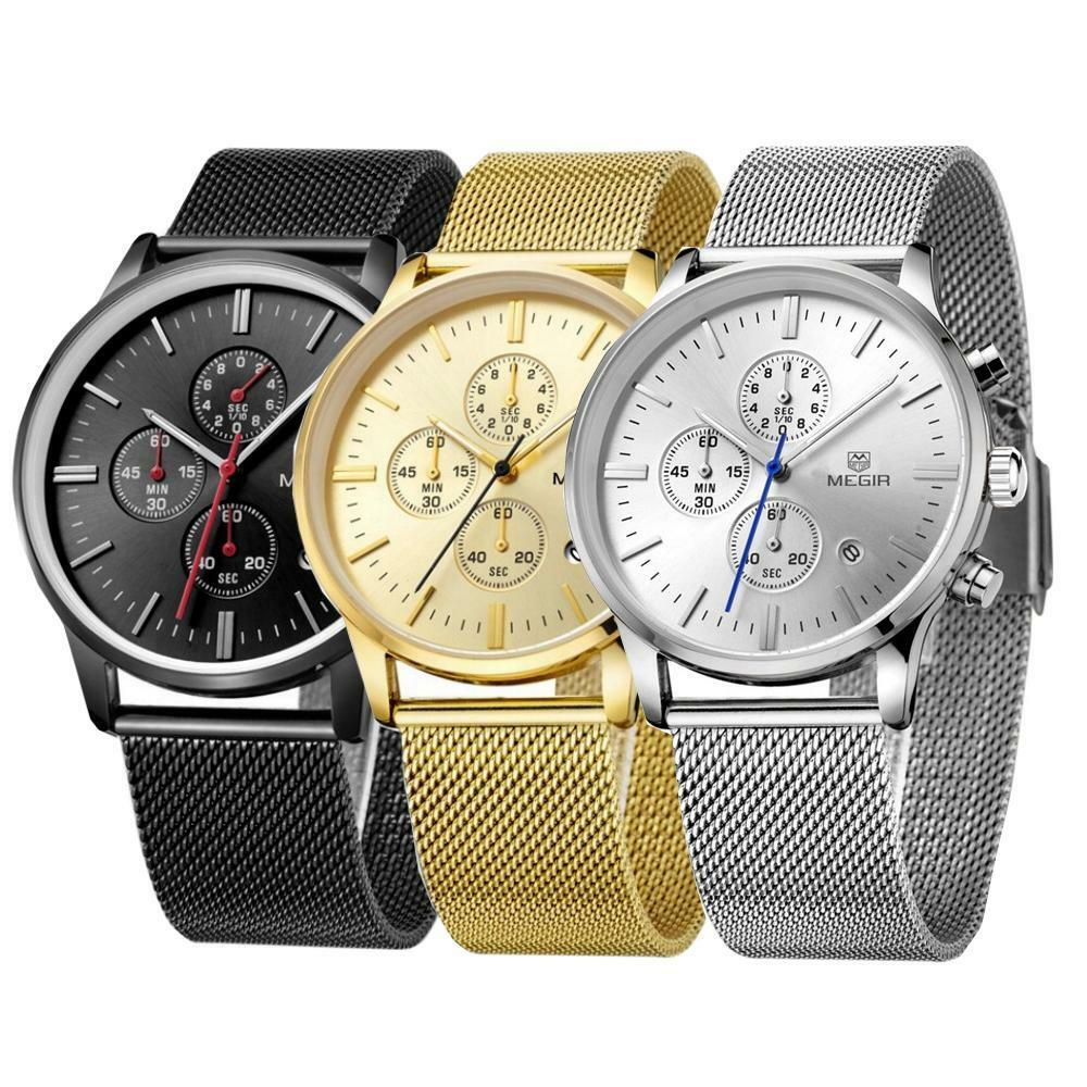 Herrenuhr Uhr Metall schwarz silber gold Metallarmband wasserdicht Datum metall